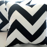 Designer Large chevron pillow cover, Black white pillow cover, 18 x 18