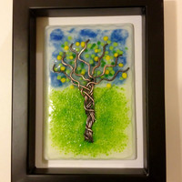 Wall art lemon tree glass and copper painting unique  in black box frame