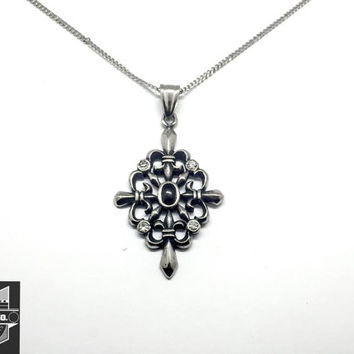 Women's Stainless Steel Elegant Cross w/CZ