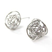 Wire Wrapped Round Stud Earrings in Silver