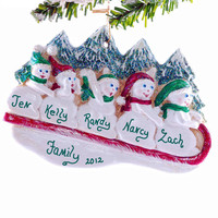 Personalized ornament - family of 5 snowmen Christmas ornament personalized with your names and phrase.