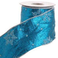 RAZ Blue with White Snowflake Wire Edge Ribbon