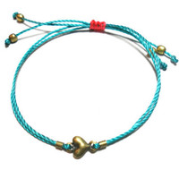 Tiny miniature heart simple friendship bracelets - teal cord string neon pink string antique brass tiny heart charm winter fall 2012