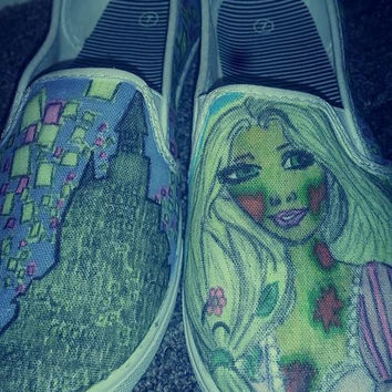 Disney's Tangled custom made shoes, hand drawn, Rapunzel as a zombie