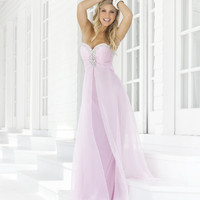 Crystal Pink Chiffon Rhinestone Strapless Sweetheart Prom Dress - Unique Vintage - Homecoming Dresses, Pinup & Prom Dresses.