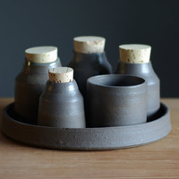 brown pottery set stoneware bottle tray set modern rustic ceramic pottery