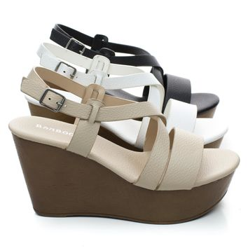 Becca09 Criss Cross Cut Out Ankle strap Open Toe Platform Wedge Sandal