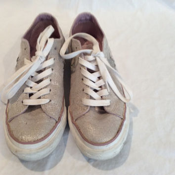 Vintage Sparkling Silver Converse Low Top Sneakers US Size 6 Tennis Shoes Wedding Pink One Star Ladies