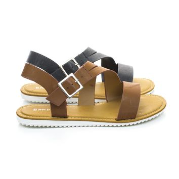 Hearten12 Flat Treaded Rubber Sole Sandal w Ankle Strap Support