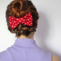 Polkadot Bow Hair Clip Barrette: Red and White Minnie Mouse Style