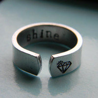 shine bright like a diamond  aluminum cuff style ring 1/4 inch
