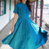Vintage Party Dress 50s Teal Taffeta Scalloped Metal Zipper Dress M L