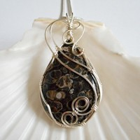 Wire Wrapped, Jewelry, Handmade, Turritella, Fossil, Jewelry, Pendant, Necklaces for Women, 226953