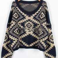 Blue Geometric pattern round neck Bat-sleeved sweater  S0001