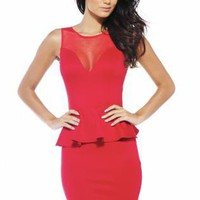 Red Peplum Dress with Sweetheart Mesh Front