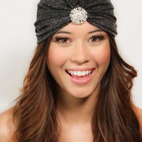 Flapper Style Crystal Full Turban Headband Headwrap Earwarme