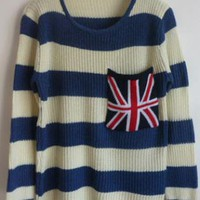 Striped Plaid Round Neck Sweater Navy S005576
