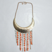 Ship Now:  Tribal Necklace, Orange and Gold Necklace. Faux Pearls and Rhinestones Necklace, Rhinestone Pearl Bib Necklace, Gold, Orange