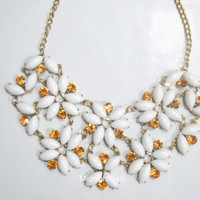 Ship Now: Tessellate Necklace, White Tessellate Necklace, JCrew Inspired, Green Necklace, Bridesmaids Necklace, Flower, Rhinestones