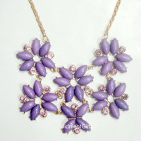 Ship Now: Tessellate Necklace, Green Tessellate Necklace, JCrew Inspired, Purple Necklace, Bridesmaids Necklace, Flower, Rhinestones