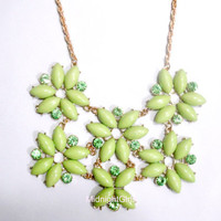 Ship Now: Tessellate Necklace, Green Tessellate Necklace, JCrew Inspired, Green Necklace, Bridesmaids Necklace, Flower, Rhinestones
