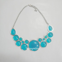 Ships Now:  J Crew Necklace, Bubble Necklace, Bib Necklace, Statement Necklace, Chunky , Blue, Geometric, Necklace