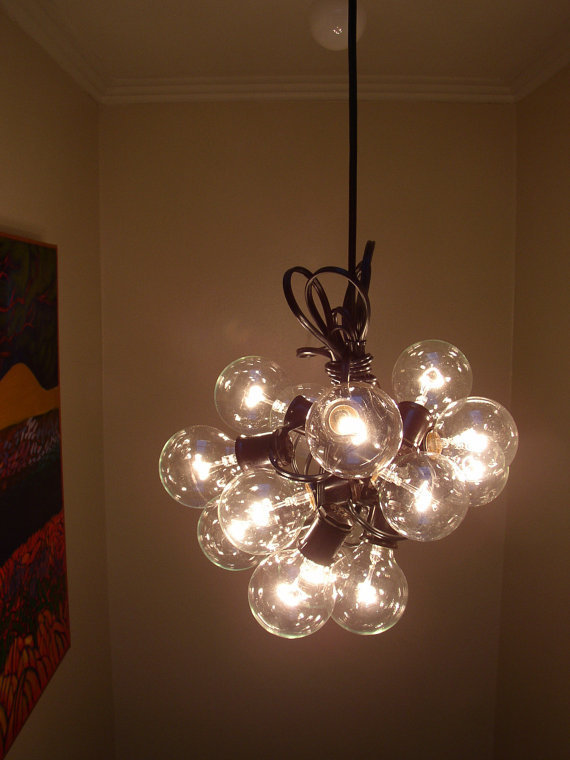 free shipping 15 light Bulb lamp Recycled re purposed cluster bulb Chandelier
