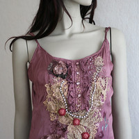 bohemian romantic hand embroidered and beaded top, antique lace, hand dyed