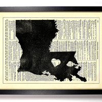 Louisiana State Dictionary Book Print Upcycled Book Art Upcycled Vintage Book Print Antique Dictionary Buy 2 Get 1 FREE