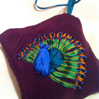 Embroidered Peacock Sachet Ornament  Silk by BeanTownEmbroidery