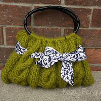 Green Cable Knit Purse Handbag by KozyPenguin on Etsy