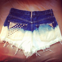 Ombre Studded Denim Shorts