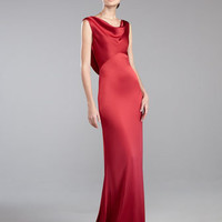 Liquid Satin Cowl-Neck Gown, Berry