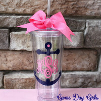 Anchor Monogrammed 20oz tumbler