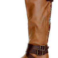 Pink &amp; Pepper Racer Medium Brown Belted Riding Boots