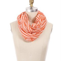 Orange and Ivory Printed Infinity Scarf