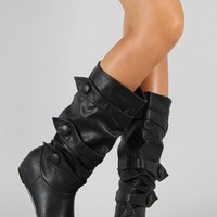 Bernice-1 Button Slouchy Knee High Wedge Boot