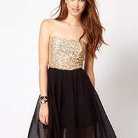 Club L Sequin Bandeau Dress With Chiffon Skirt at asos.com