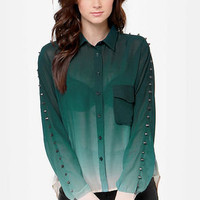 Your Loving Ombre-ce Dark Green Studded Top