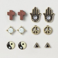 Peace and Balance Stud Earrings Set of 6  | Claire's