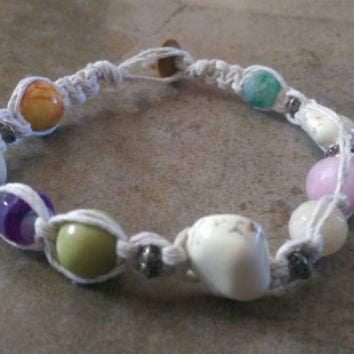 Multi Color Gemstone Hemp Anklet, Beach Girl, Hemp Jewelry, Hemp Anklet, Gemstones, Fun Jewelry, Gift for Her, Free Shipping in USA