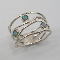 OPAL and sterling silver- OCEAN wave ring (sr-9773)