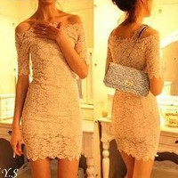 L319 Elegant Women Lady Princess Queen Lace Collar Mini Cocktail Party Dress S