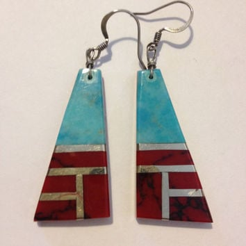Santo Domingo Turquoise Red Jasper Earrings Sterling Silver 925 Vintage Southwestern Tribal Jewelry Mother's Birthday Anniversary Gift
