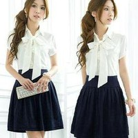 L266 Elegant Japan Beautiful Bowknot Fashion Womens Girl Lolita Dresses Size S
