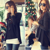 New fashion Korean cotton tops Batwing mini dress long sleeve women clothes