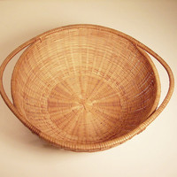 Vintage Woven Round Bamboo Basket