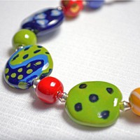 African Kazuri Fair Trade Act Green and Blue Handmade Necklace | GracefulArts - Jewelry on ArtFire