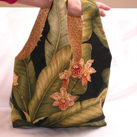 Shopper Bag Tropical Hawaiian Palm Orchid Print