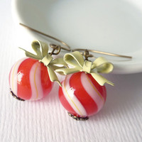 Red and White Striped Earrings, Candy Stripe Earrings